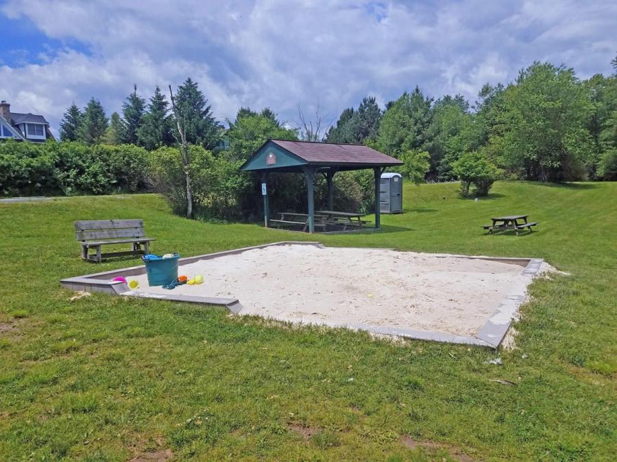 lakefront pavilion and sand box