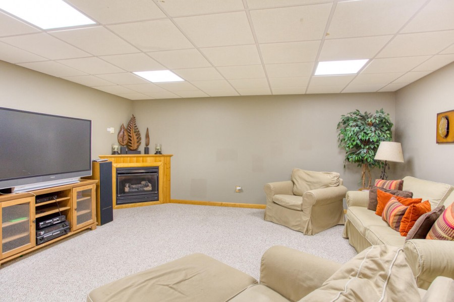 Rec Room seating. Fireplace. TV