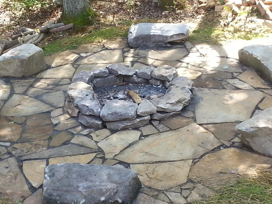 Natural firepit with seating