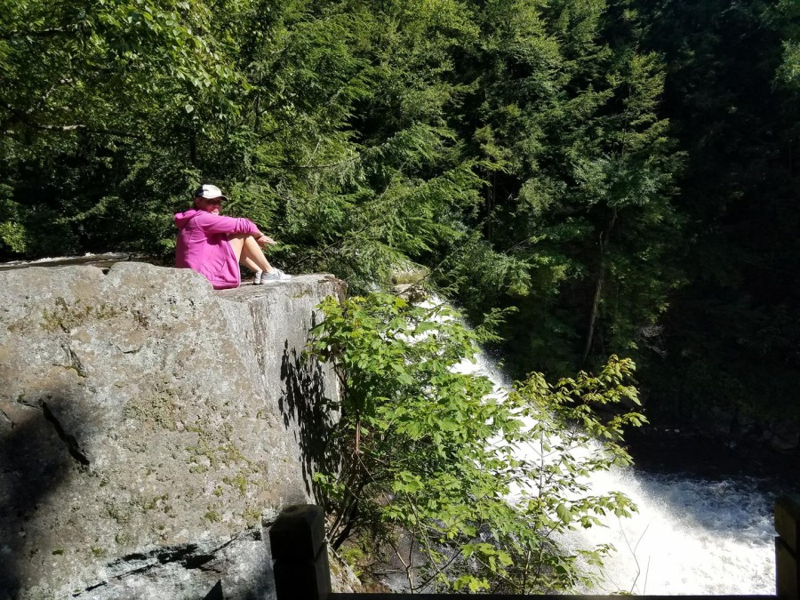 relaxing at Swallow Falls