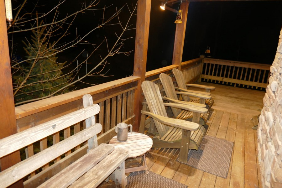 side porch seating winter night
