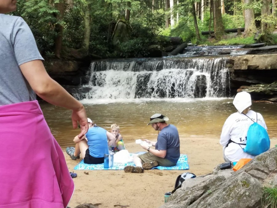 relaxaing at Toliver Falls - 5 minutes away