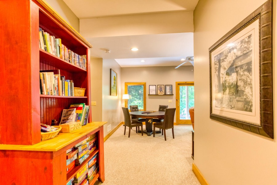 Game Room approach. Book shelves