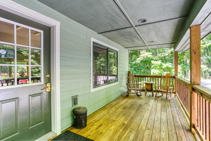 Entrance area to house. Covered porch