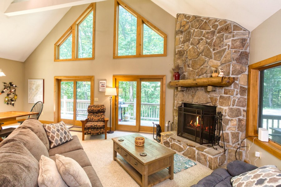 Living Room seating. Wood Fireplace