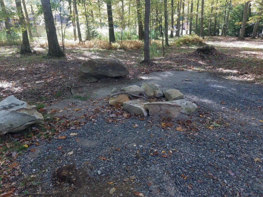 Firepit and rock seating